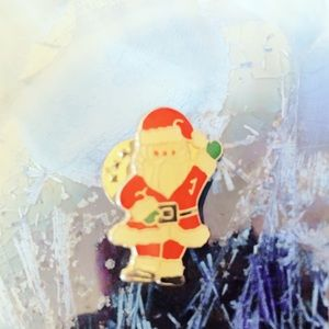 Vintage Red Holiday Santa Pin